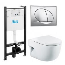 Готовый комплект Roca Meridian, крышка-сиденье микролифт, кнопка хром глянцевый
